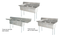 Stainless Steel Triple Tub Pot Sinks